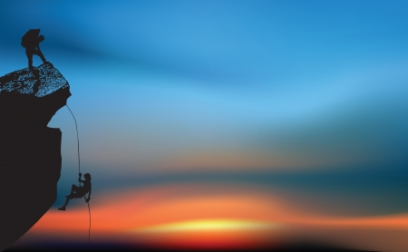 climber: Klimplanten bij zonsopgang Stock Illustratie