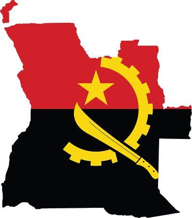 Angola map and flag