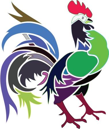 Artistic colored cock Stock Vector - 14880920