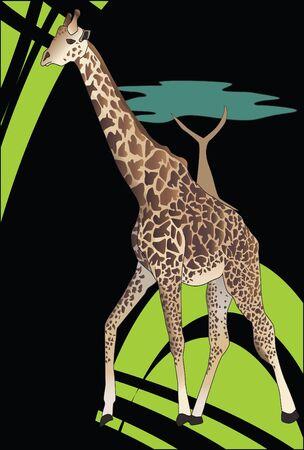 Künstlerische Savanne und Giraffe mit Akazienbaum
