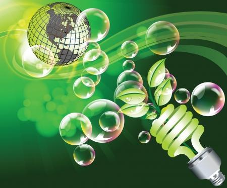 Ecology background with globe and bubbles Ilustração