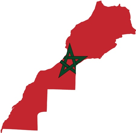 Marocco flag map Illustration