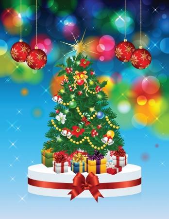 Weihnachtsbaum illustrierte Karte