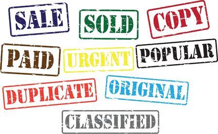 Print  sale,sold,duplicate,paid,urgent,original,classified,popular,copy Stock Vector - 15519202
