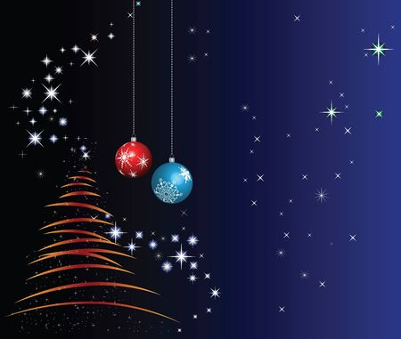 Christmas tree and decorations with stars on the blue gradient background Stock Vector - 16083140
