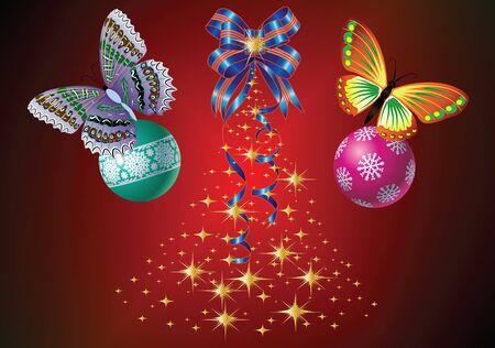 Albero di Natale e decorazioni con gradiente di sfondo rosso