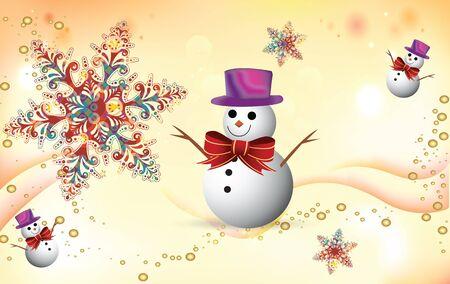 snoflake: Winter celebration background with snoflake and snowman
