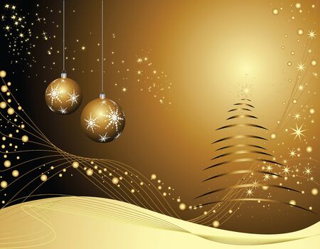 Christmas tree and Christmas decorations on the dark gradient background Stock Vector - 16083143