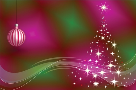 Christmas tree and Christmas decorations on the gradient background Stock Vector - 16313586