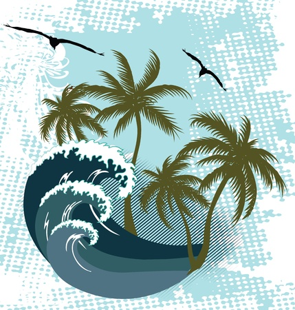 Ocean wave and tropical island illustration Stock Vector - 16313577
