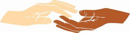 Human white hand and human black hand Stock Vector - 16313551