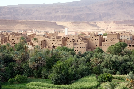 Morocco landscape: river valley, wadi, with traditional\ village and Anti Atlas Mountains in the background