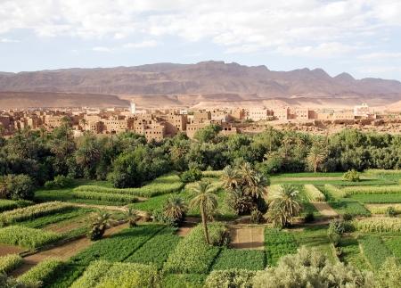 Marokko landschap: riviervallei, wadi, teelten met traditionele dorp en Anti Atlas gebergte op de achtergrond
