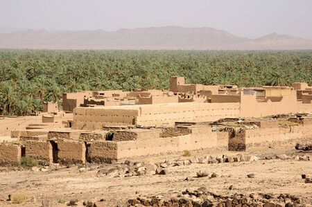 fortified: Moroccan ancient fortified village with palm tree plantation in the background