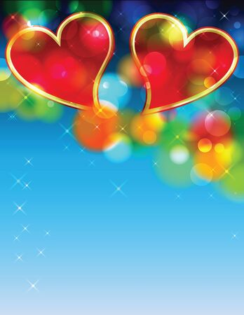 Valentine day two red hearts with blue background Stock Vector - 17627170