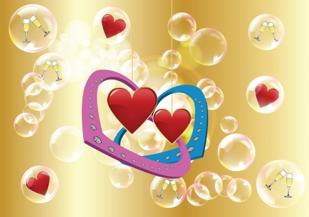 Valentine day: two hearts and golden background with bubbles and spotlights Stock Vector - 17627172
