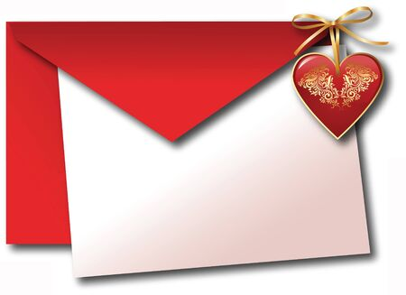 blanked: Valentine day red heart envelope and white paper