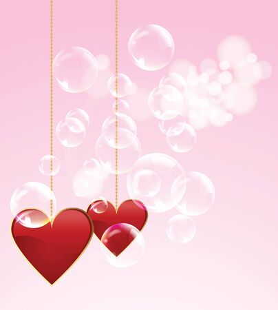 Valentine day two red hearts with spotlights and bubble in the background Stock Vector - 17627159