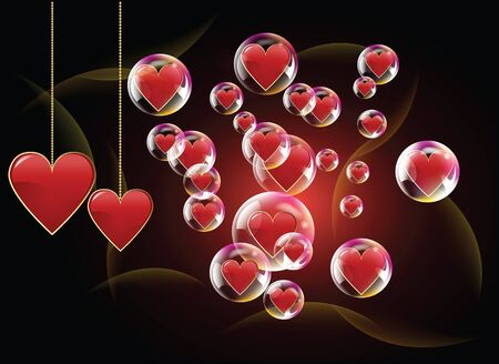 Valentine day hearts in the  bubbles with spotlights in the background Stock Vector - 17627165