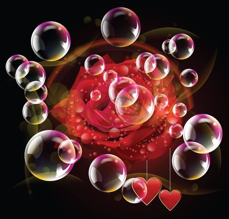 Valentine day two hearts and red rose with bubble and spotlights in dark background Stock Vector - 17627176
