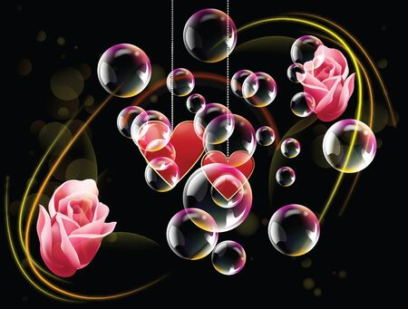 Valentine day two hearts and red rose with bubble and spotlights in dark background Stock Vector - 17627182