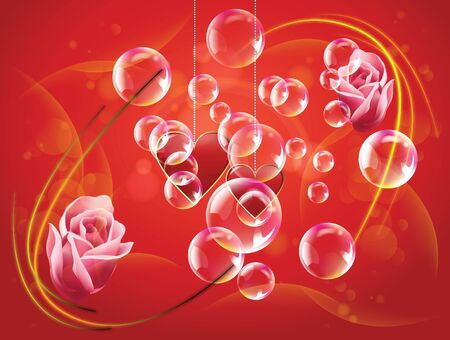 Valentine day two hearts and rose with bubble and spotlights in dark background Stock Vector - 17627180