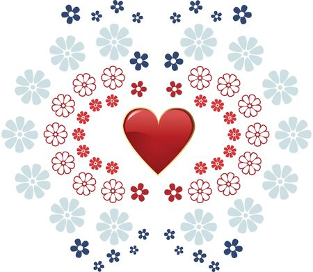 Valentine day red heart and flowers Stock Vector - 17627149