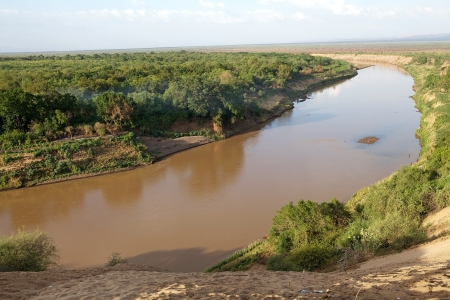 Omo river landscape from the river bank, Ethiopia