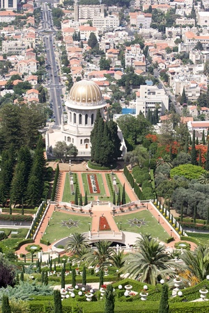 bab: Bahai garden and Bab grave from the top of the hill, Haifa, Israel