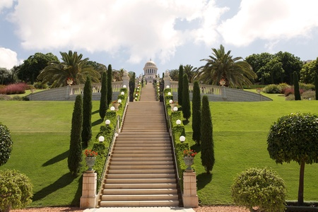 Bahai garden and Bab grave on the top of the hill, Haifa, Israel photo