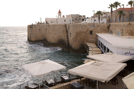 fortified wall: Akko fortified wall on the Mediterranean sea, Israel