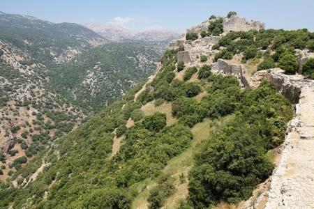 Nimrod fortress on the slope of mount Hermon, Israel photo