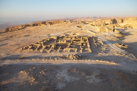 The Western Palace ruins at the Masada fortress on the Masada plateau at dawn, Israel, photo