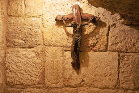 The Christian cross inside the church of the Nativity in Bethlehem, Israel  The site is traditionally considered the birthplace of Jesus of Nazareth