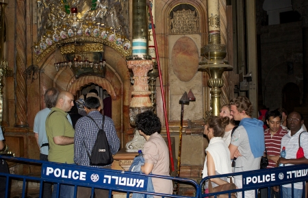 sepulchre: Pilgrims are getting in the holy sepulchre in the church of the holy Sepulchre in the Jerusalem old town, Jerusalem, Israel