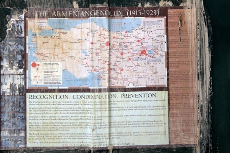 genocide: The armenian genocide history on the mural on the wall in the armenia area in the Jerusalem old town, Jerusalem, Israel