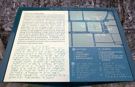 Castle of the Royal Force map at the Old Havana, Cuba