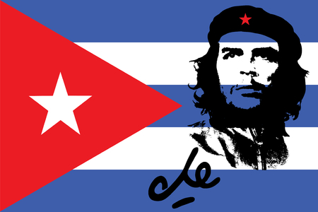 Che Guevara y la señal con la bandera cubana en el fondo Editorial