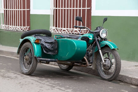 sidecar: Old classic sidecar along the street in Sancti Spiritus, Cuba