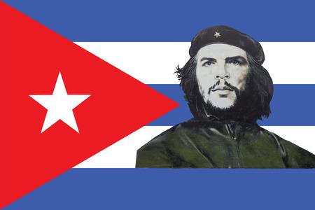 cuba flag: Cuban flag and Che Guevara