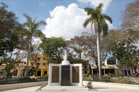 anthem: Statue of Perucho Figueredo at the Cespedes Park at the Bayamo, Cuba  Perucho Figueredo was a poet, musician and revolutionary in the 19th century  He wrote the cuban national anthem in 1867