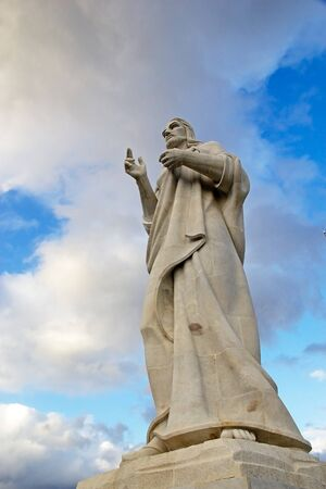 The Christ sculpture on a hilltop overlooking the bay in Havana, Cuba photo