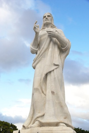 The Christ sculpture on a hilltop overlooking the bay in Havana, Cuba photo