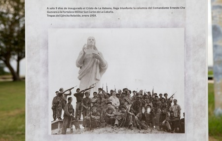 The historic photography of Che Guevara soldiers at the feet of the Christ of Havana,  the large sculpture reprresenting Jesus of Nazareth at the open air museum on a hilltop overlooking the bay in Havana, Cuba