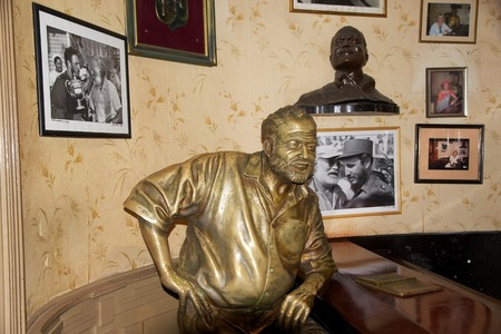 The statue of Ernest Hemingway inside the Floridita an historic restaurant and cocktail bar in the Old havana, Havana, Cuba  It opened in 1817  The Nobel prize winning american writer Ernest Hemingway frequented the bar