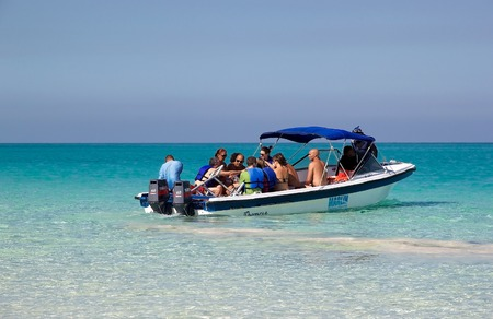 Tourists are goiong by speed boat to the islands Cayo Coco and Cayo Guillermo in the Caribbean sea, Cuba