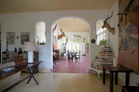 hemingway: The main livingromm of the Finca Vigia   Finca Vigia was the home of Hernest Hemingway in the suburb of the Havana, Cuba  Now the Finca Vigia is a museum