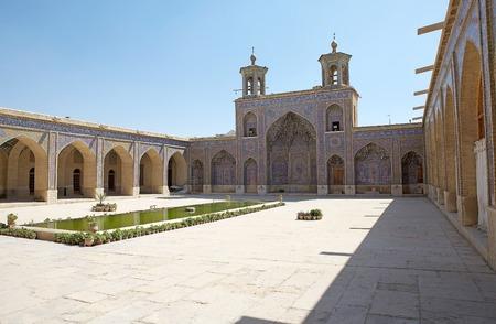 Nasir al Mulk Mosque courtyard, Shiraz, Iran  Nasir al Mulk Mosque was built between 1876 and 1888 during the Qajar era