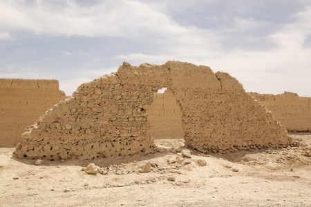 constraction: Architecture details of a technical constraction of the wall in the ruins of the ancient  Abarku, Iran