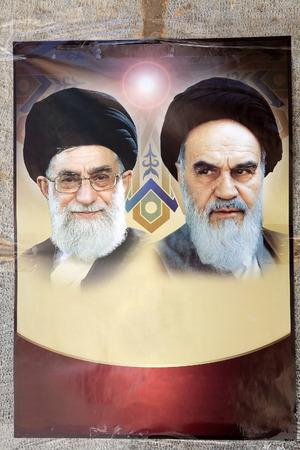 Iranian propaganda with the Ayatollah Khamenei and Ayatollah Khomeini at the Hazireh Mosque, Yazd, Iran  Editorial